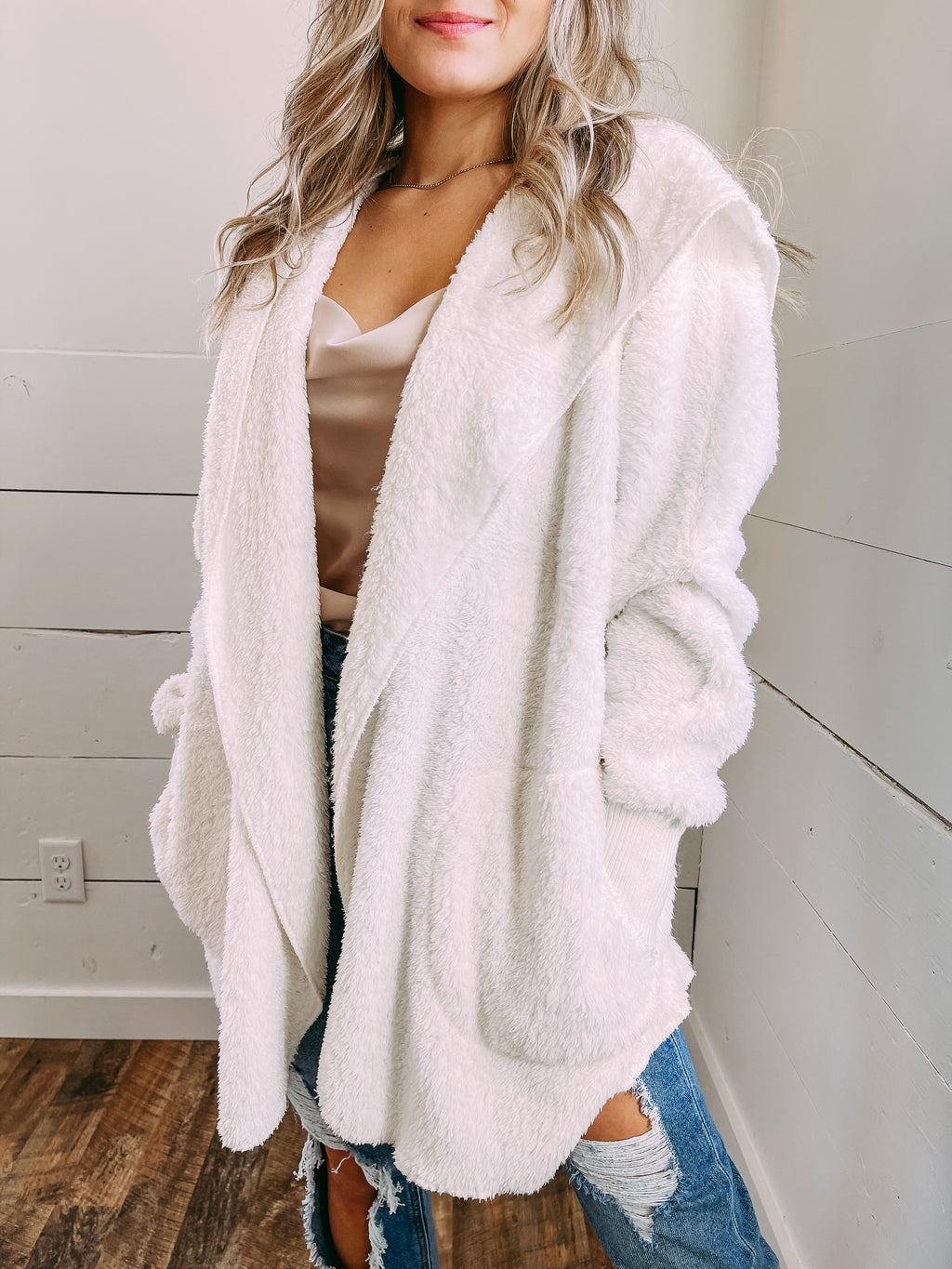 Keep Me Cozy Fur Jacket - white