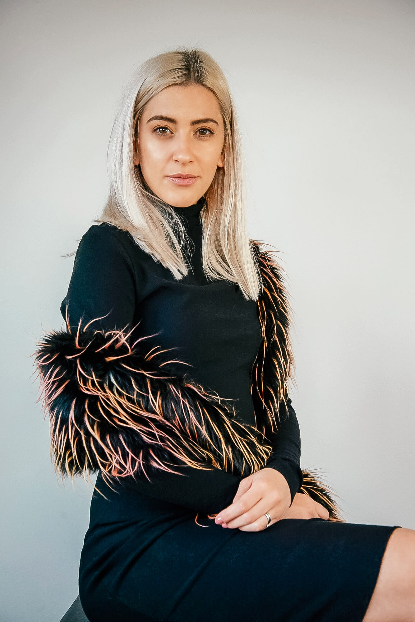 Black Turtle Neck Dress and Faux Fur Shawl - Kim Legler A/W Collection