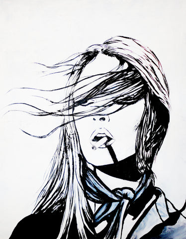 Woman Smoking Illustration by Kim Legler
