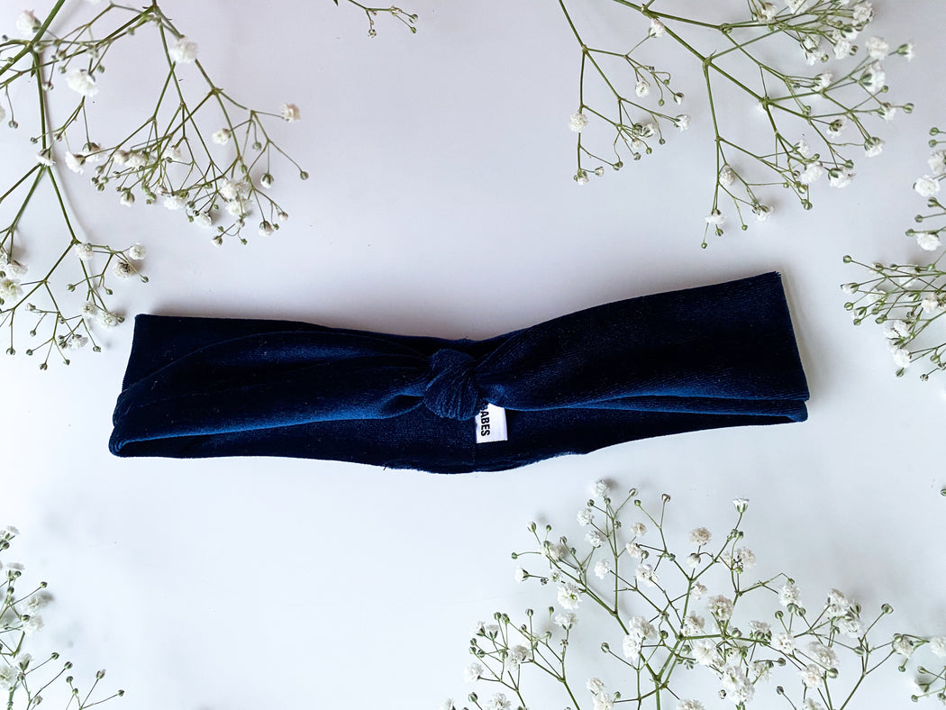 royal blue velvet knot headband