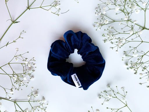 royal blue velvet scrunchy