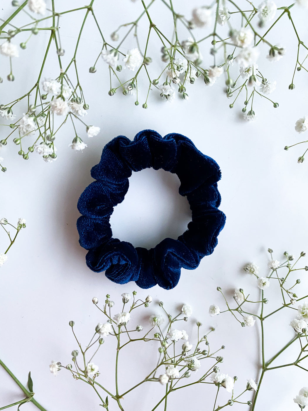 mini blue velvet scrunchy