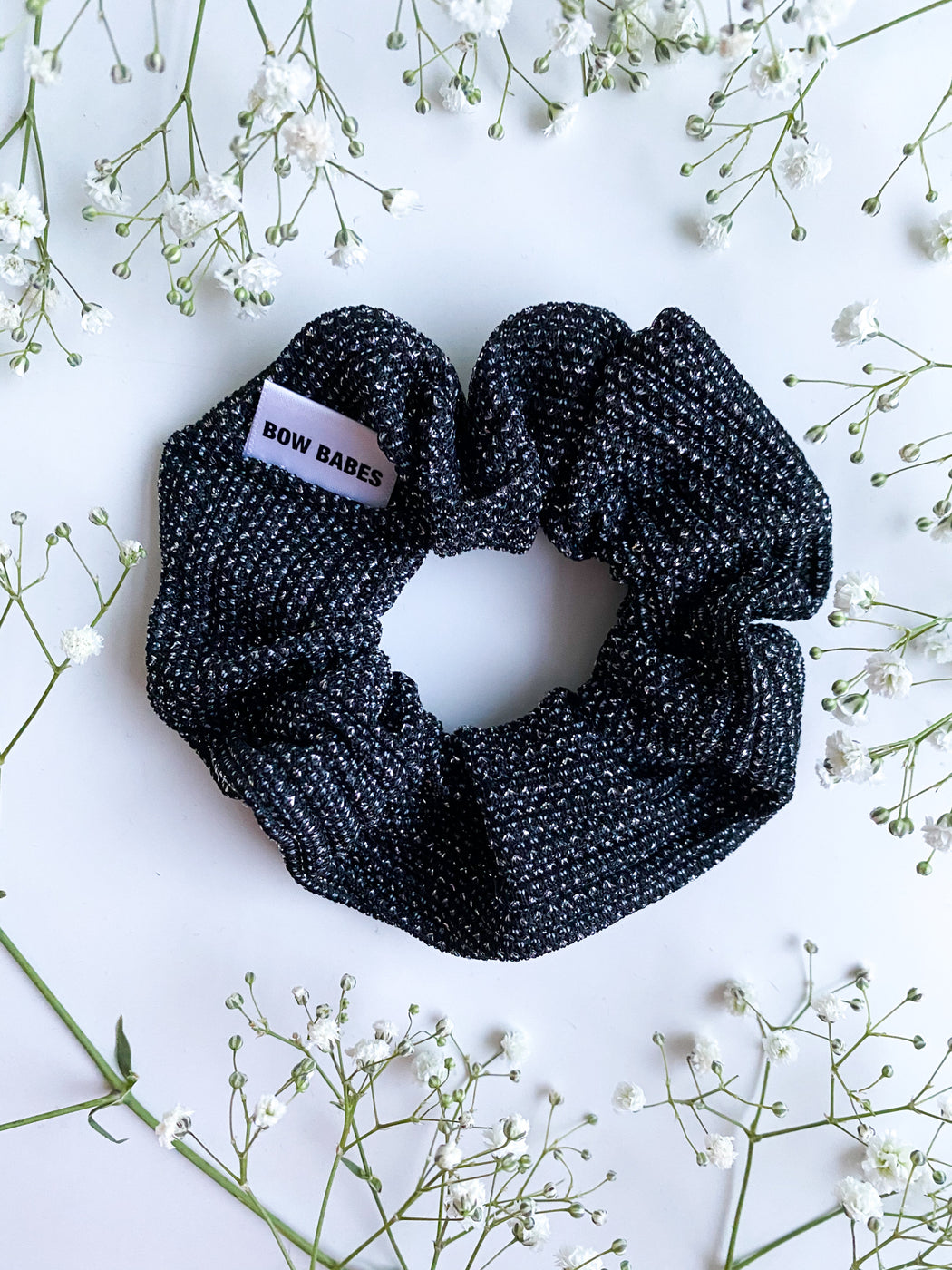 sparkly charcoal scrunchie