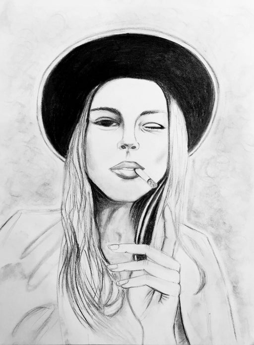 black and white charcoal drawing of woman smoking