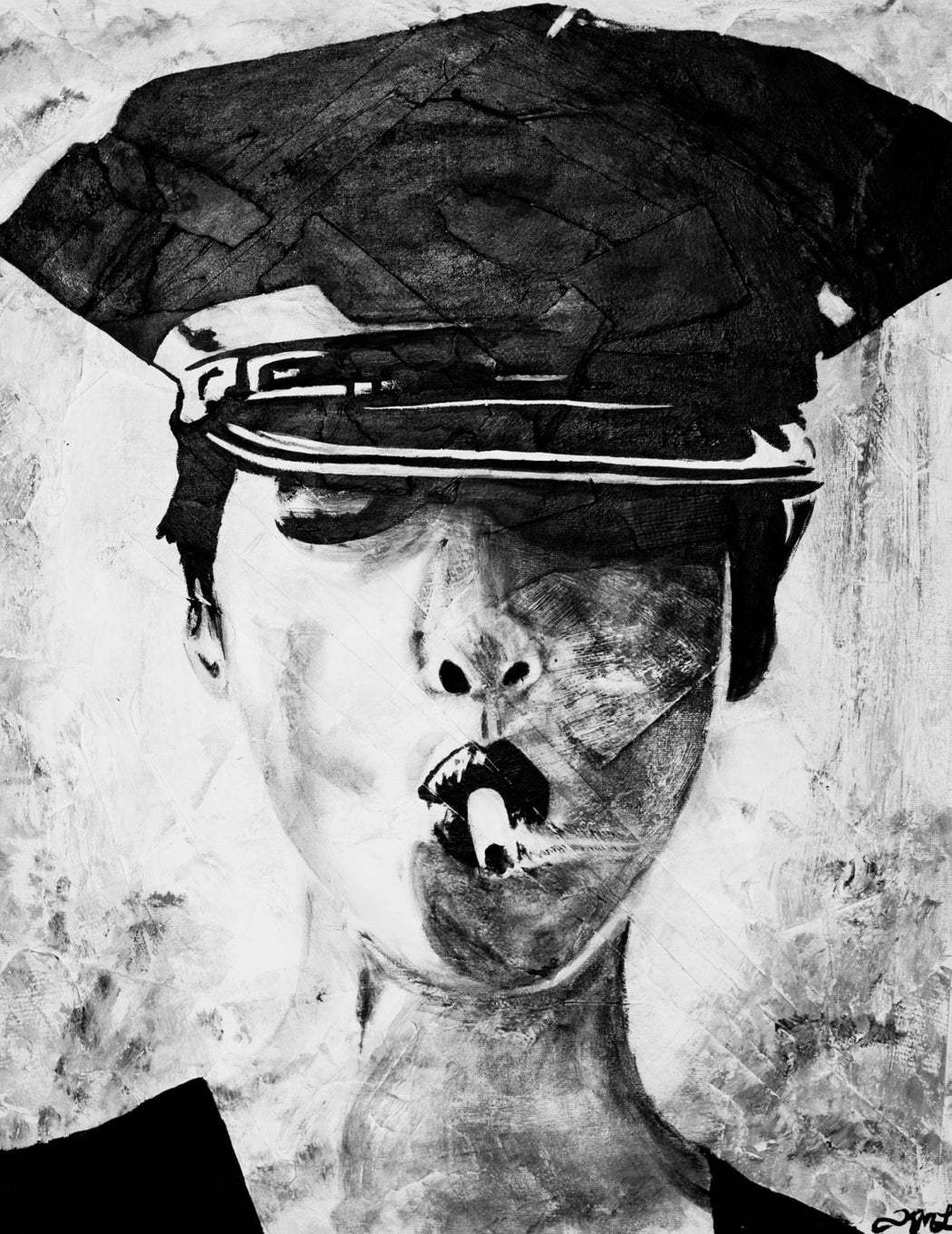 black and white police woman smoking painting by kim legler inspired by christie turlington and steven meisel portrait