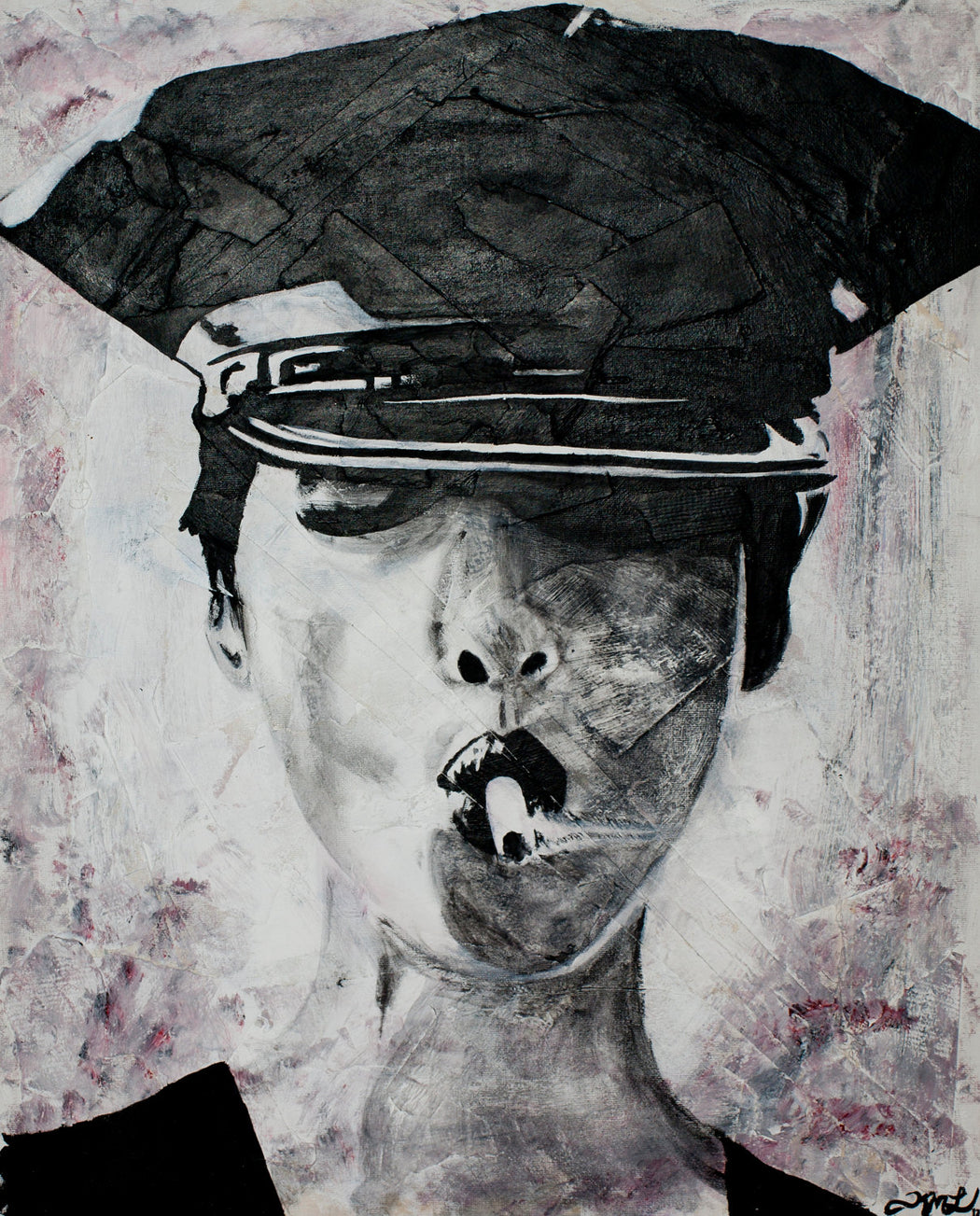 police woman smoking fine art print in colour by kim legler