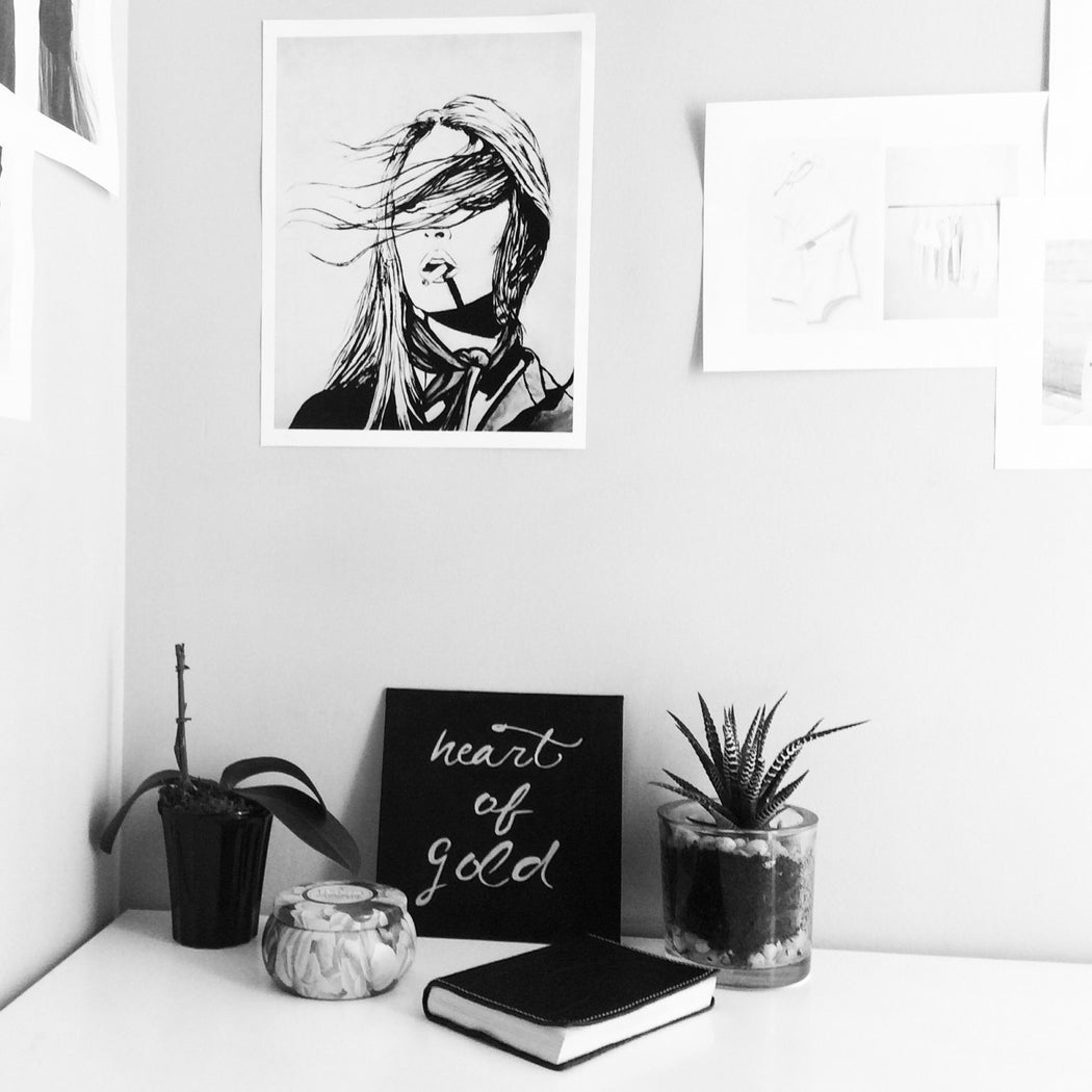 black and white artwork in office setting