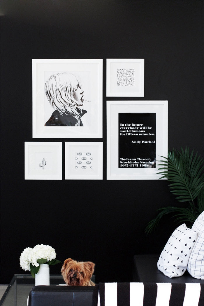 Black and white static fashion print paired in gallery wall