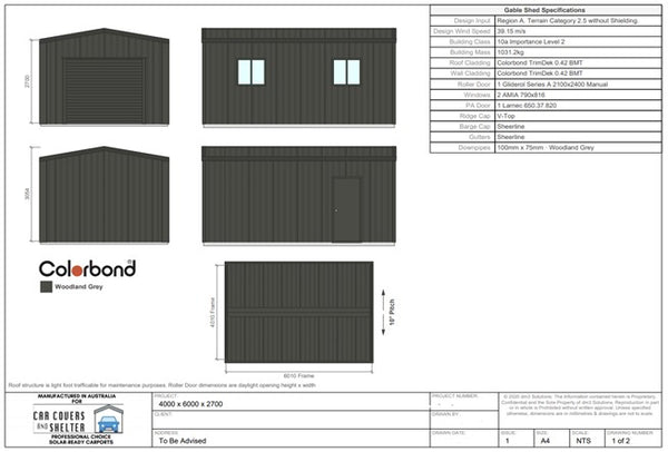 4x6x2.7 single garage proposal first page - Professional Choice Sheds Garages and Carports