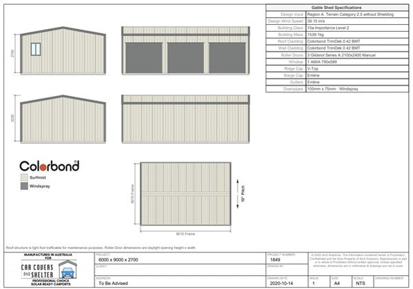 6000x9000 triple garage first page proposal - Professional Choice sheds and garages