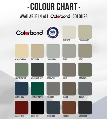 colorbond color chart Carports Car Covers and Shelter