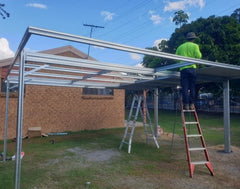 Double budget carport being installed
