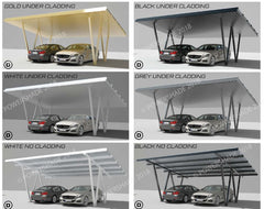 collage of eco port double solar carports 7.4kw. @nd generation residential solar carports. Car Covers and Shelter