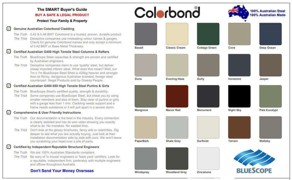What to look for to ensure your shed is to Australian standard and Colorbond chart