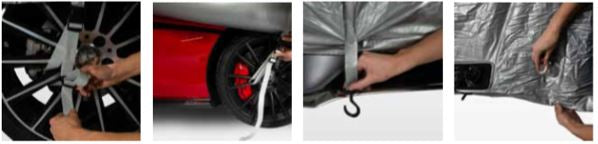 Illustrations showing how to install a HailSuit - Car Covers and Shelter