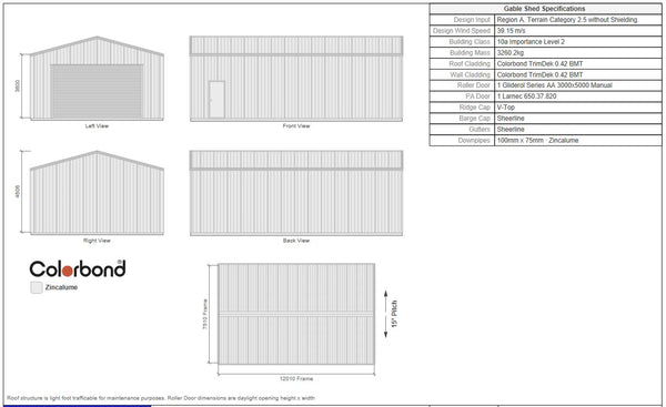 Large shed with 5m wide roller door 3m high