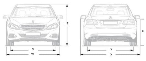 dimensions front and rear for sedan/hatch