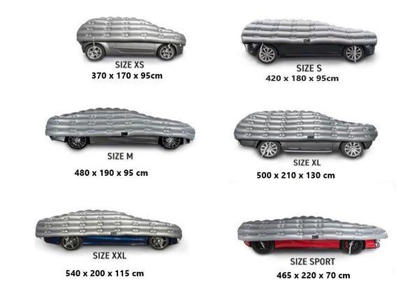 HailSuit 6 sizes illustrated - Car Covers and Shelter