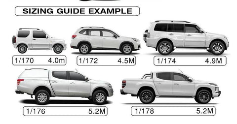 Sizing guide for stormguard utes and SUV covers