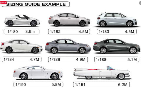 Stormguard sedan and hatch sizing guide - Car Covers and Shelter