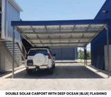Solar Carport double 6.3kw Blue flashing - Car Covers and Shelter