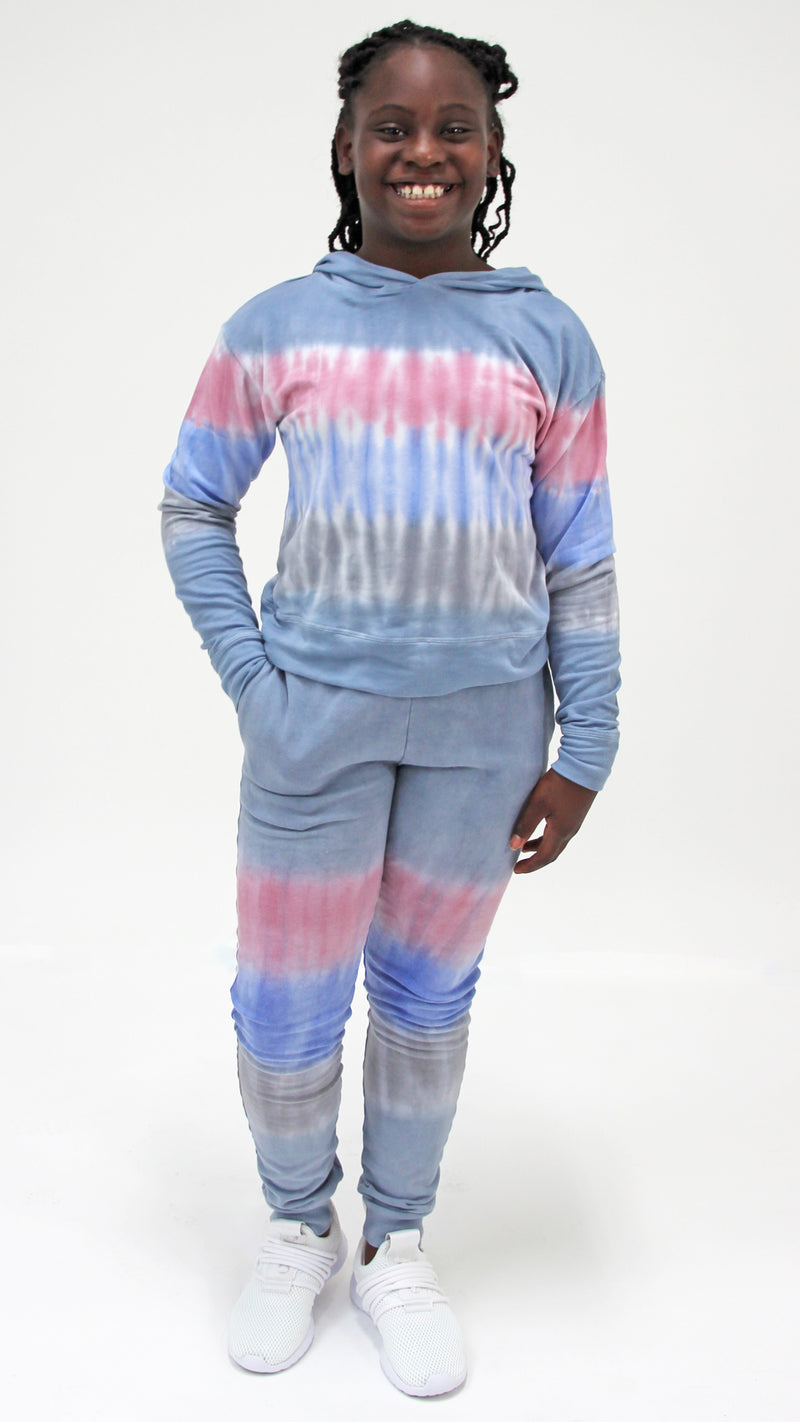 Denim Stripe Tie Dye Jogger