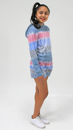 Denim Stripe Tie Dye Shorts