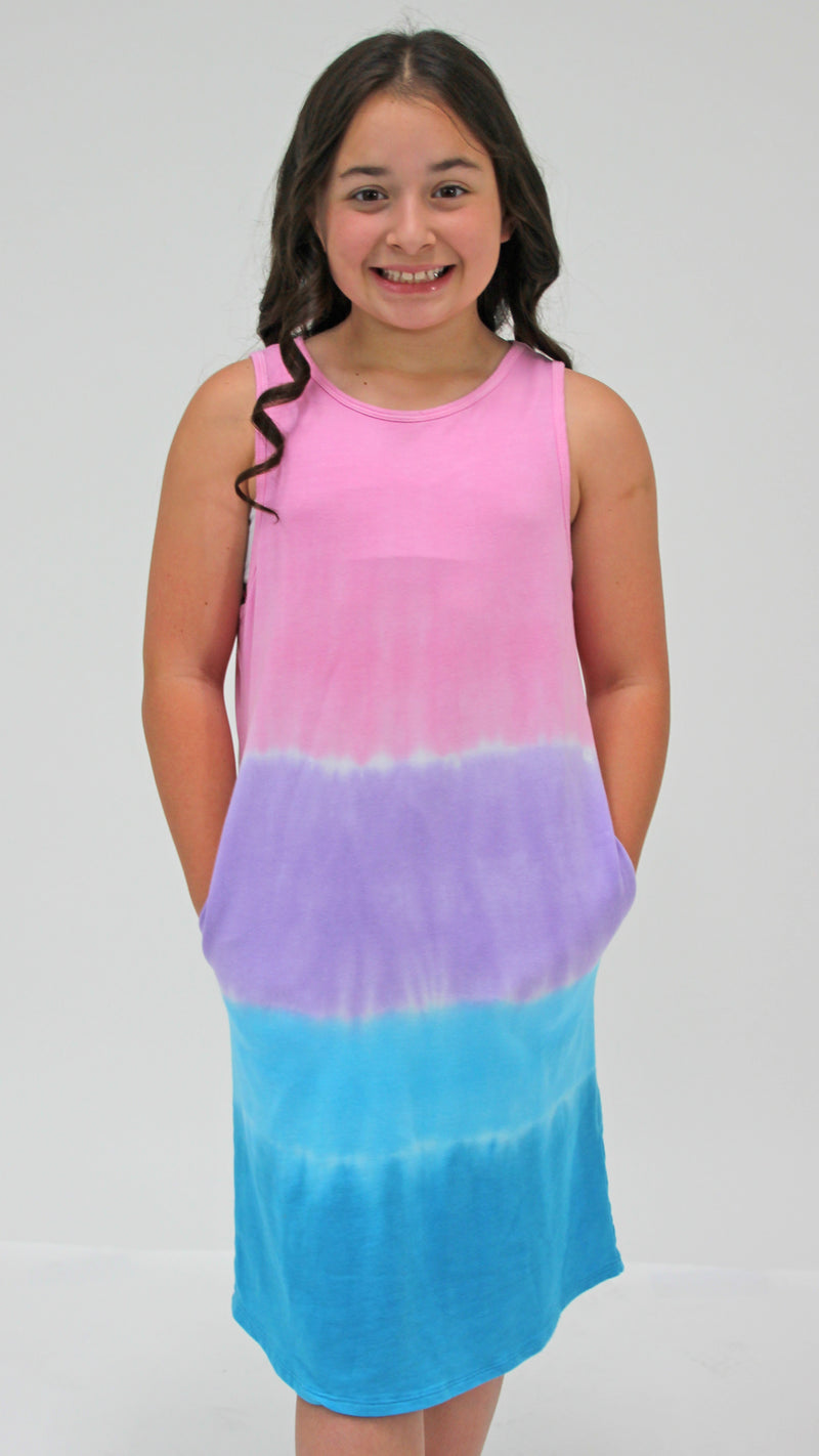 Pink Stripe Tie Dye Dress