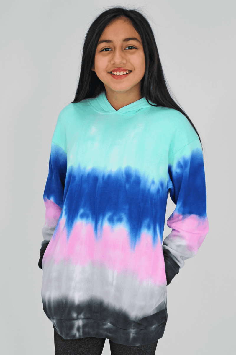 Aqua Stripe Tie Dye Dress