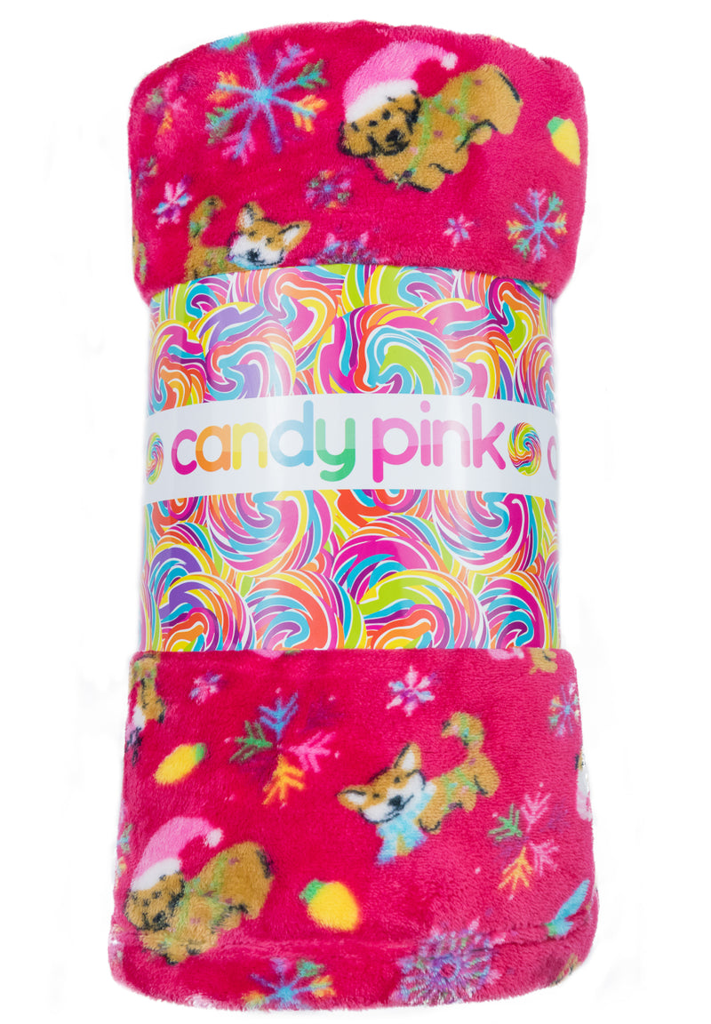 Candy Pink Girls Xmas Dog Holiday Fleece Blanket