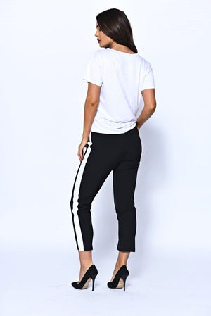 Black Tailored Cropped Trousers With White Side Stripe