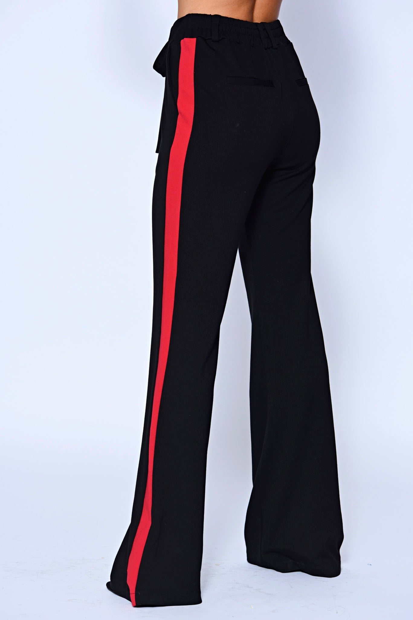 Black Side Panel High Waisted Flare Trousers