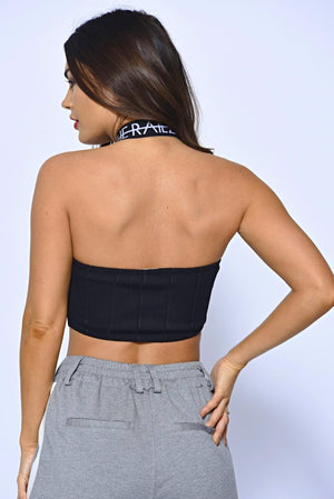 Off The Railz Logo Cross Over Bandeau Top