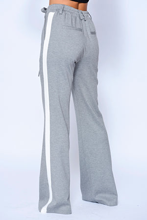 Grey Side Panel High Waisted Flare Trousers