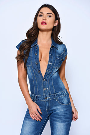 Blasted Mid Wash Buttoned Down Denim Jumpsuit