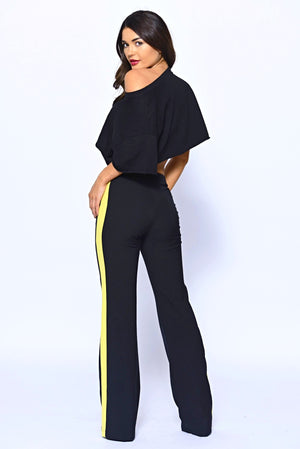 Black Side Stripe Flare Trousers With Gold Buttons