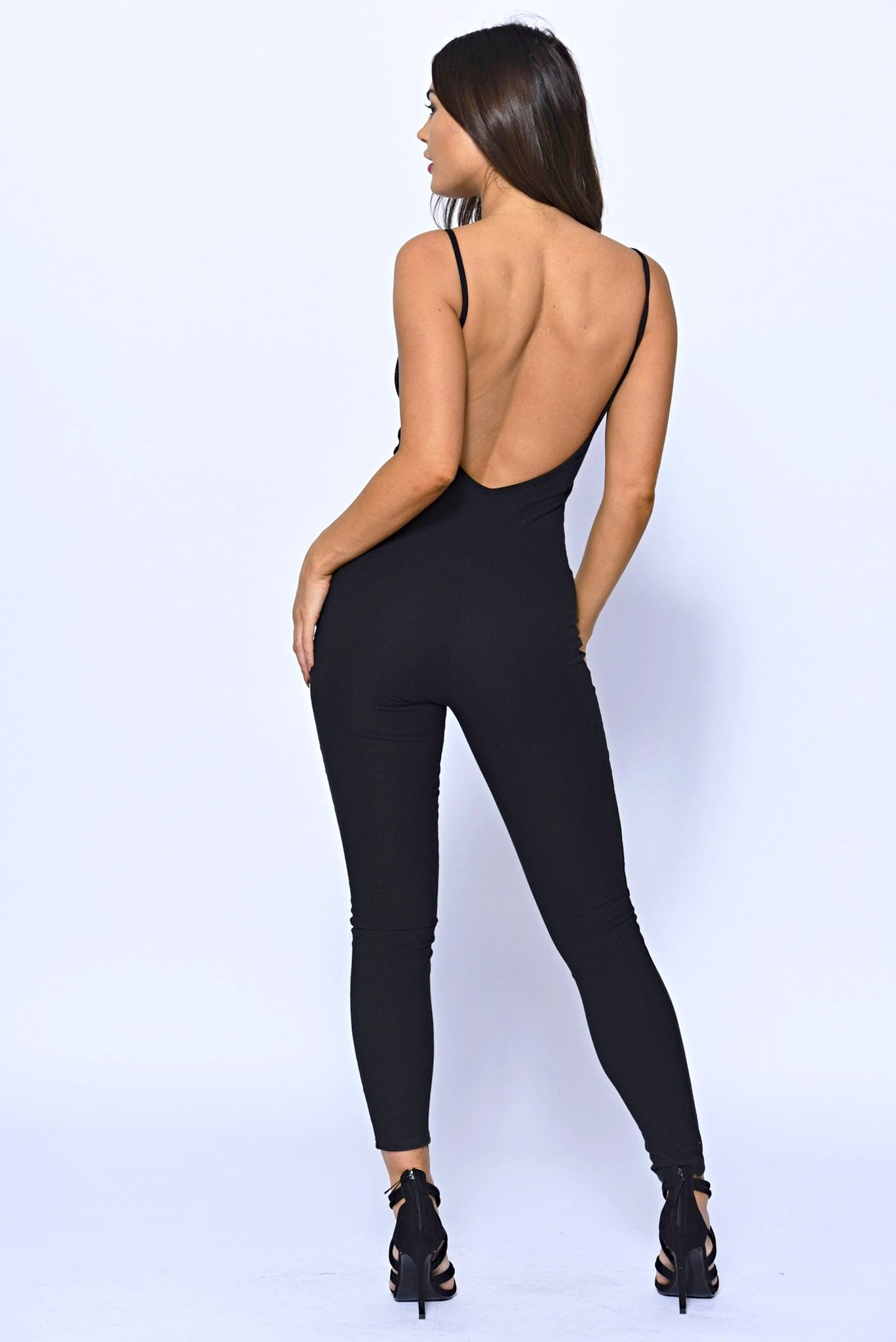 Strappy Backless Black Ribbed Knit Jumpsuit