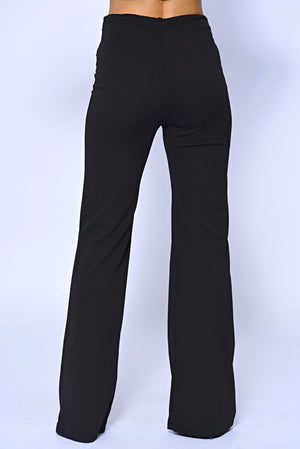 Black Military Button High Waisted Wide Leg Trousers