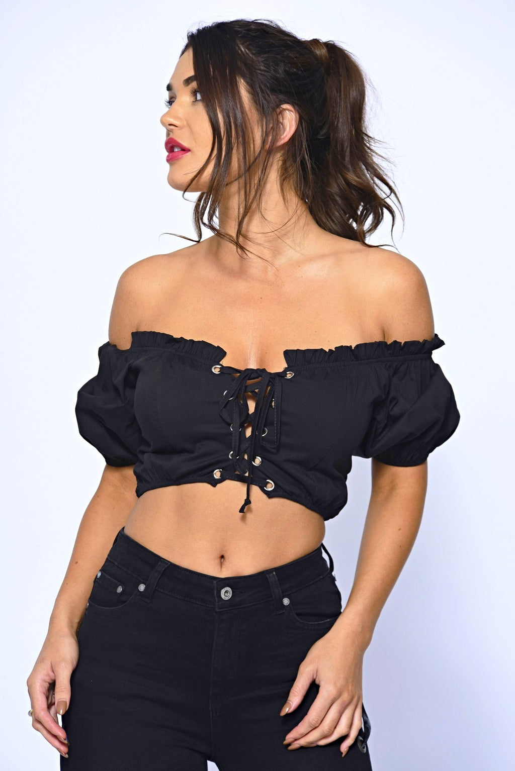 Crop Black Lace Up Bardot Top