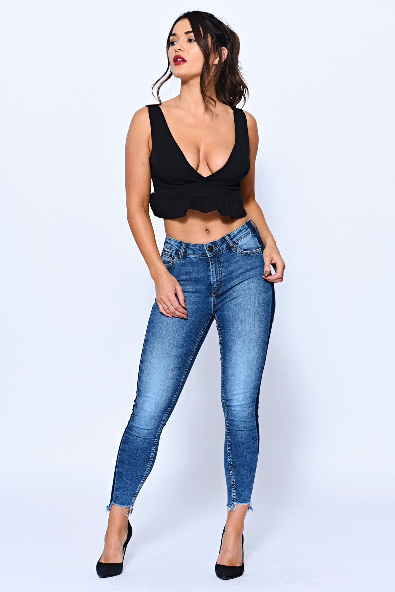 Frill Hem Black Crop Top With Plunge Neck