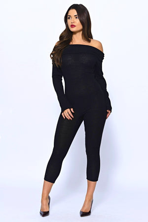 Off The Shoulder Black Long Sleeved Ribbed Knit Jumpsuit