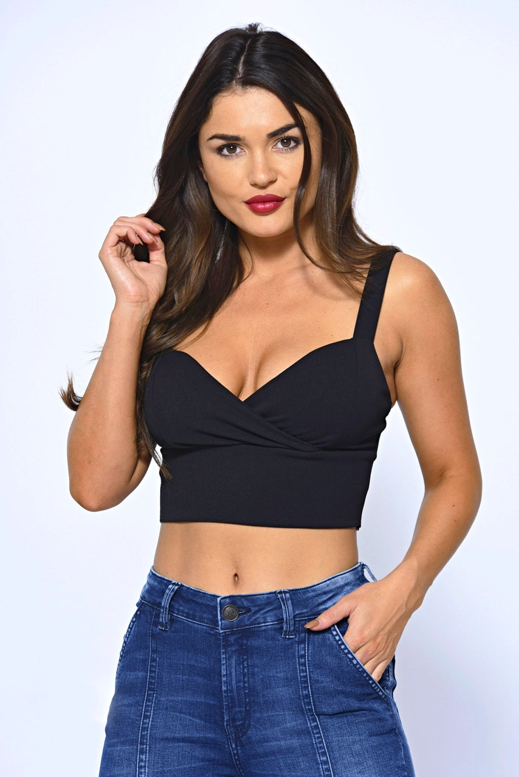Cross Over Design Basic Black Bralet