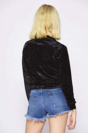Velour Black Zip Through Top