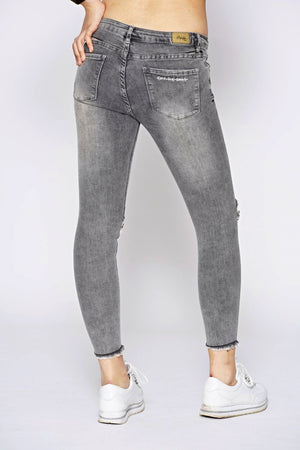 Off The Railz Grey Embellished Ripped Slogan Skinny Jeans