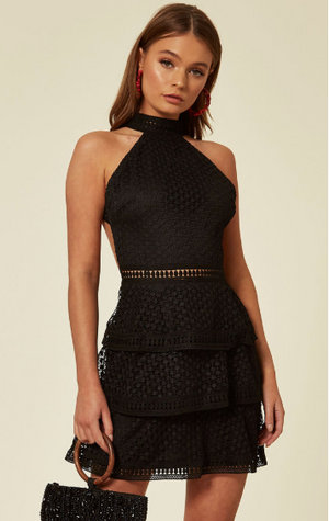 Black High Neck Mini Cut Out Crochet Layered Dress With Revealing Back