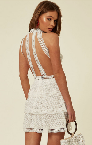 White High Neck Mini Cut Out Crochet Layered Dress With Revealing Back