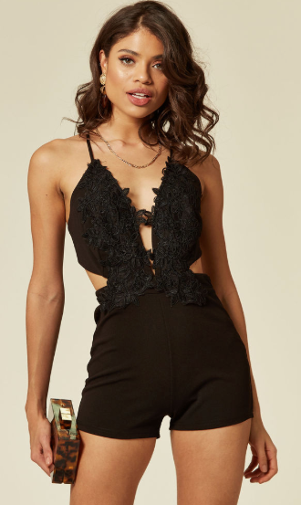 Black Lace Plunge Neck Playsuit With Crossed Back And Front Floral Applique