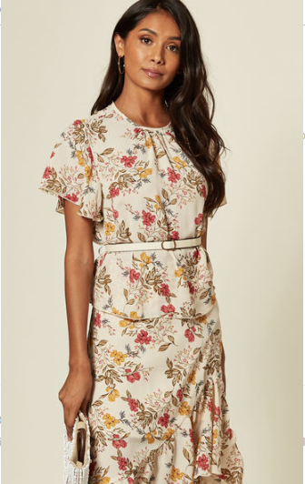 Cream Floral Print Floaty Short Sleeve Top With Detachable Leather Belt Fastening And Ruffled Sleeve