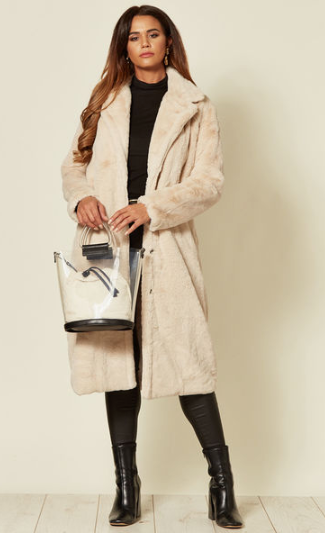 Beige Faux Fur Long Coat With Front Pockets