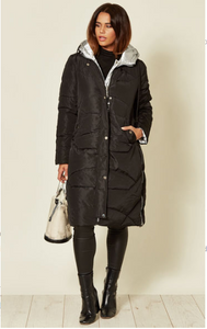 Black Reversible Long Hooded Puffa Coat With Silver Metallic Inner Body And Front Zip Fastening